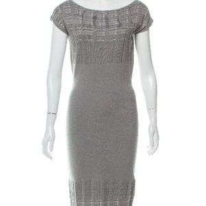 Narciso Rodriguez Sz 4 Scoop Neck Wool Midi Dress